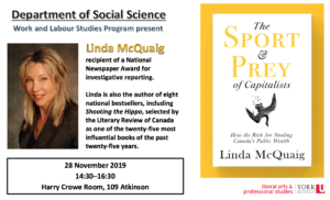 Poster for Linda McQuaig book talk